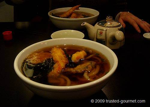The hot tempura udon