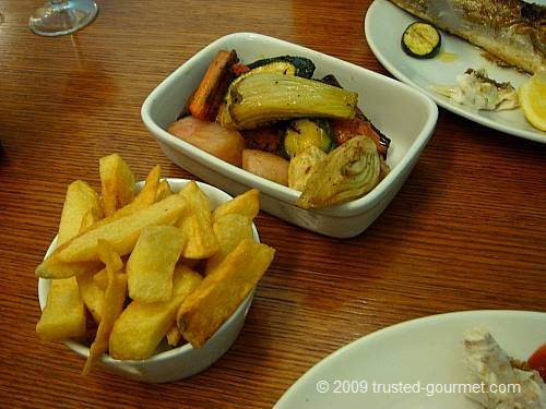 Chips and roast veg