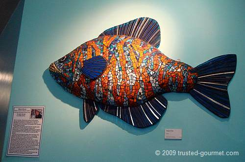 Another nice fish in papier mache and mosaic for sale.