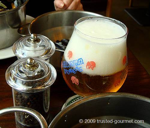 Delirium Tremens beer with its dedicated glass too :-)