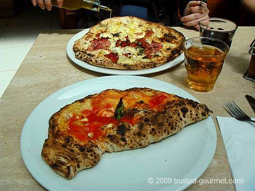 The two pizzas, and you can see the chilli oil