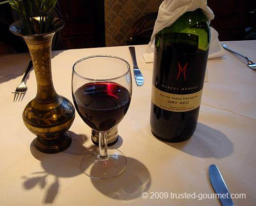 Marcel Hubert red wine included in the 15 menu for two.