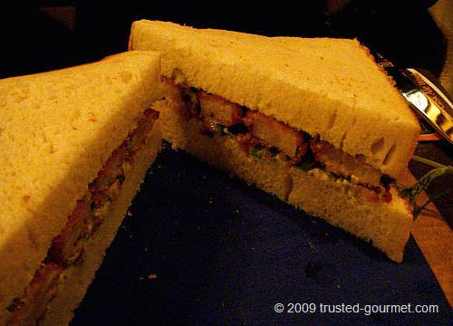 Details of the fish fingers sandwich