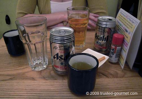 Asahi beer and green tea