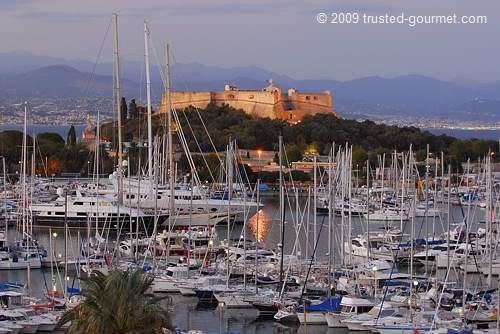 View of the Fort Carré in the evening. The marina is largest yachting harbour in Europe.