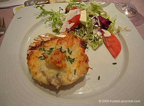 Coquille St-Jacques gratinée au fromage