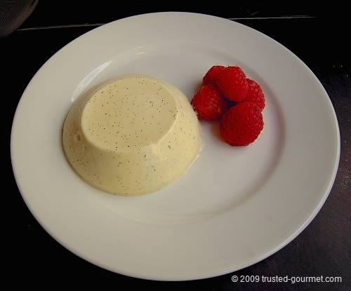 Panna cotta, English raspberries (£5)