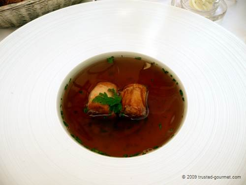 Consommé of Kavalier Spitz with meat strudel