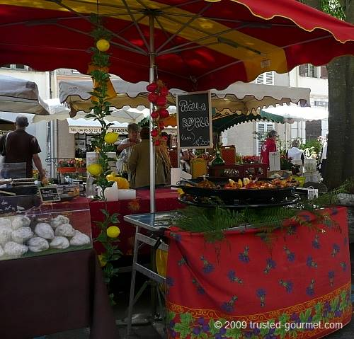 Paella, cheese, wine, olive oil etc can be found at the market