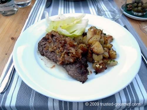 Bavette aux échalottes et pommes de terre sautées