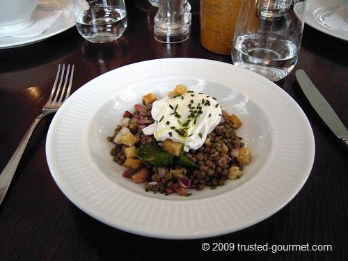 Lentils with a poached egg