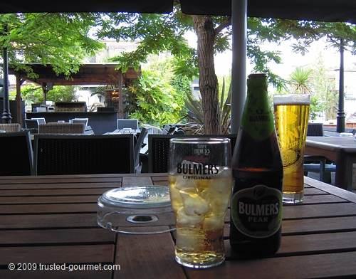 Bulmers pear cider and Peroni beer