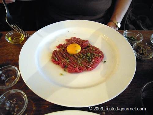 Steak tartare with the egg on