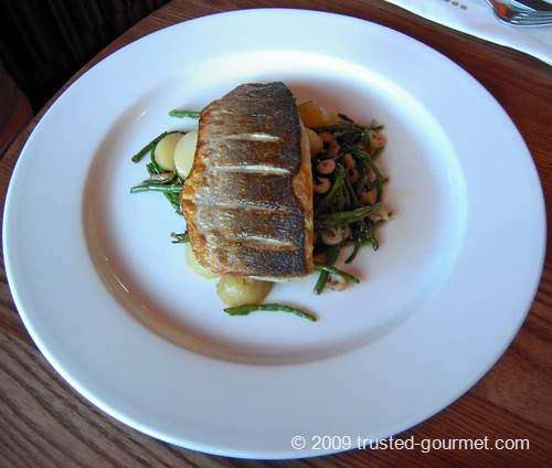 Pan fried sea bass & brown shrimps