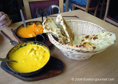 Curries and naan bread