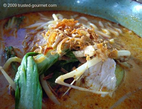 Close-up of the chicken laksa