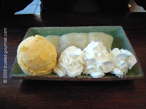 Banana dessert with rice & ice cream