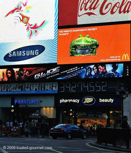 The neon signs at Piccadilly Circus
