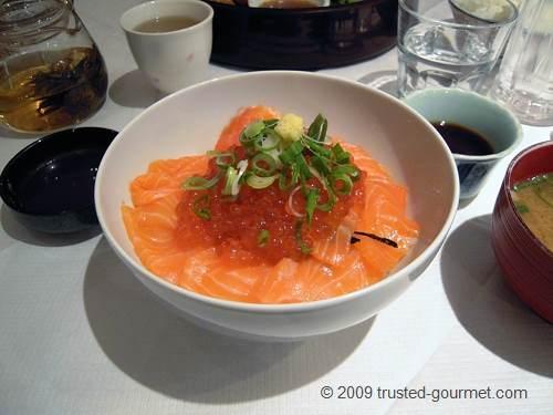Salmon sashimi and Ikura don