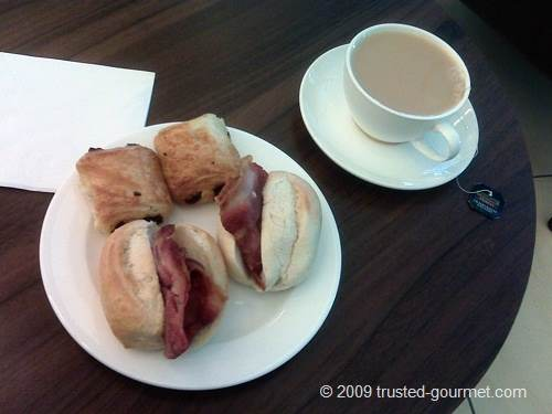 My bacon rolls, pastry and a nice cup of tea
