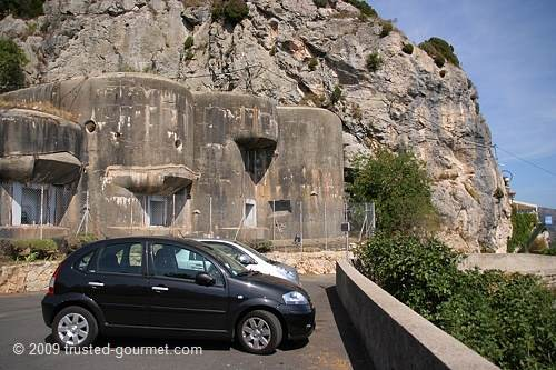 The restaurant is at the right. The bunker is part of the Ligne Maginot and can be visited