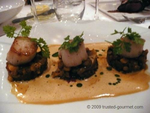 Close-up of the scallops