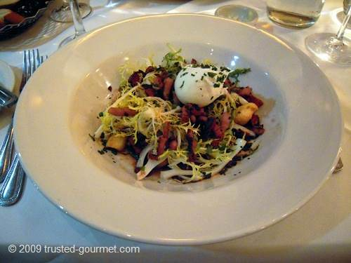Curly Endive Salad with Lardons and a Poached Egg