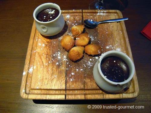 Little chocolate pots and freshly cooked Madeleines